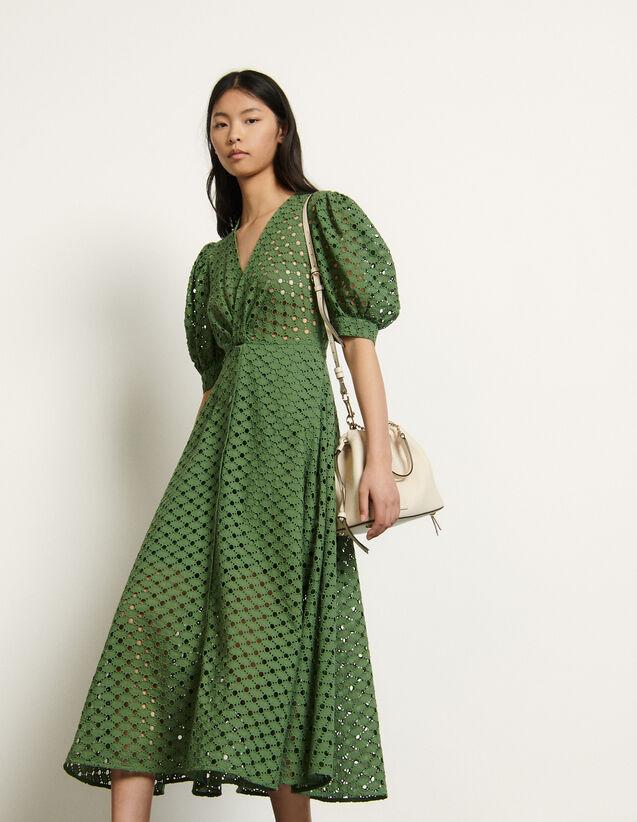 산드로 원피스 Sandro Langes Kleid mit Lochstickerei SFPRO01128 - Khaki
