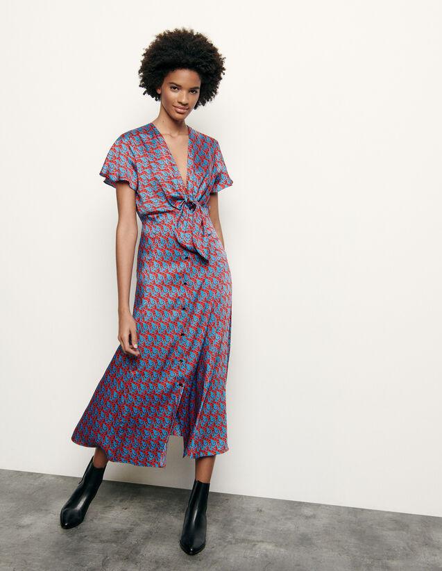 산드로 원피스 Sandro Langes Kleid mit Print und Bindedetail SFPRO01033 - Blau/Rot