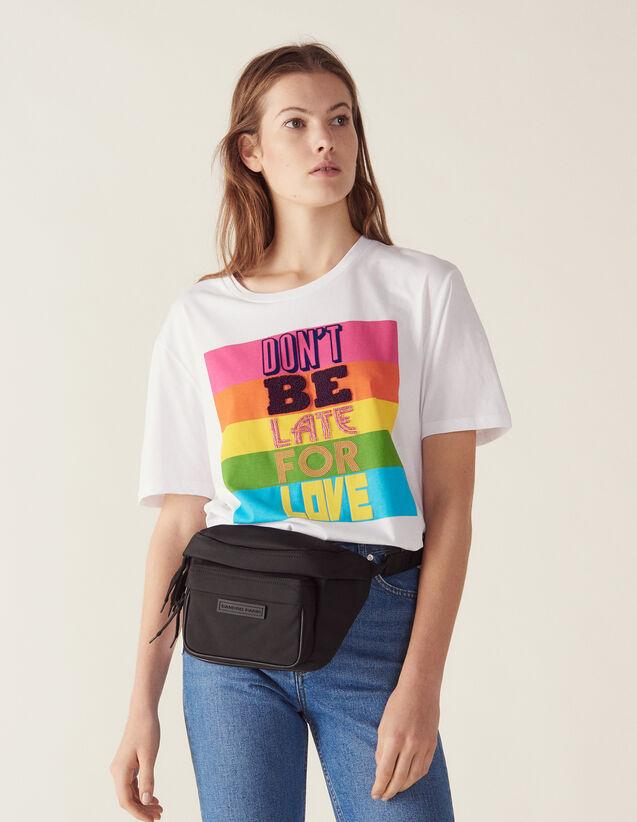 산드로 레터링 반팔 티셔츠 Sandro Baumwoll-T-Shirt Mit Schriftzug T11583E Weiss