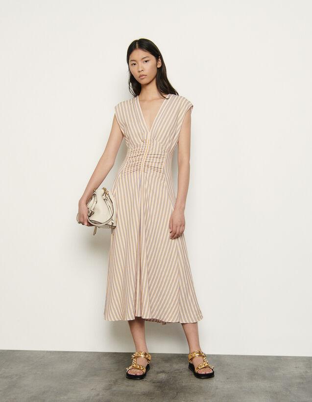 산드로 원피스 Sandro Langes Kleid mit verspielten Streifen SFPRO01054 - Rose / Jaune