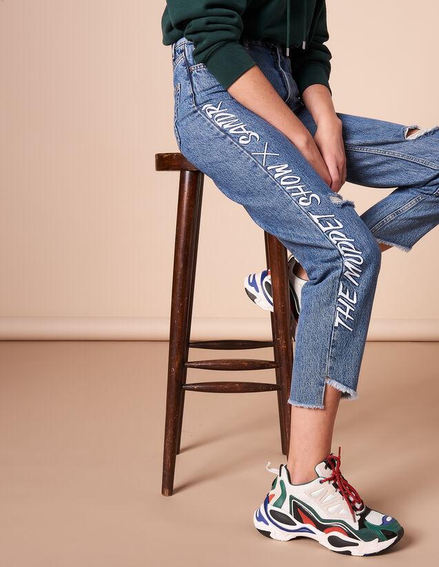 산드로 X 더 머펫쇼 콜라보 청바지 [추가할인 30% → 40%] Jeans Sandro x The Muppet Show Jeans P6427H - Jeans,Blue Vintage - Denim