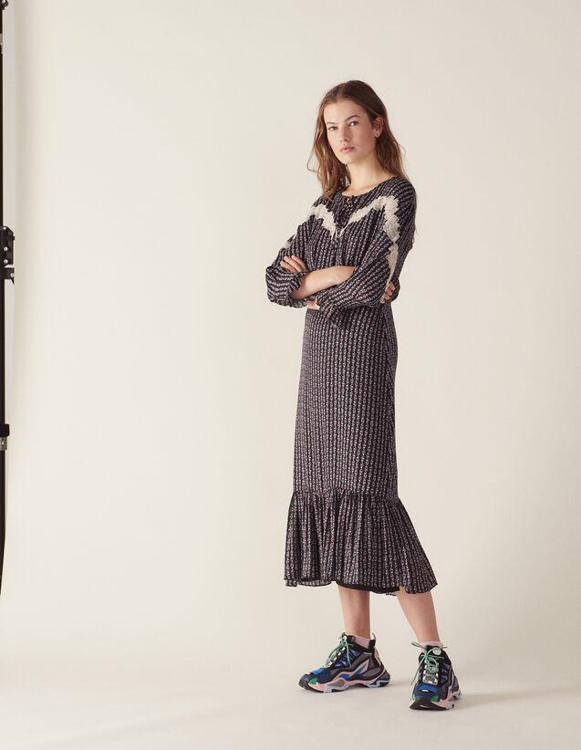 산드로 Arceau 보헤미안 프린트 롱 원피스 - 블랙 Sandro Langes Kleid Mit Boho-Print