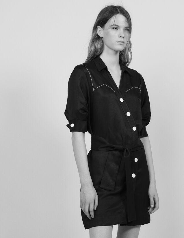 산드로 Unga 미니 원피스 - 블랙 Sandro Kurzes Kleid Mit Asymmetrischer Knoepfung R20601E -  Schwarz