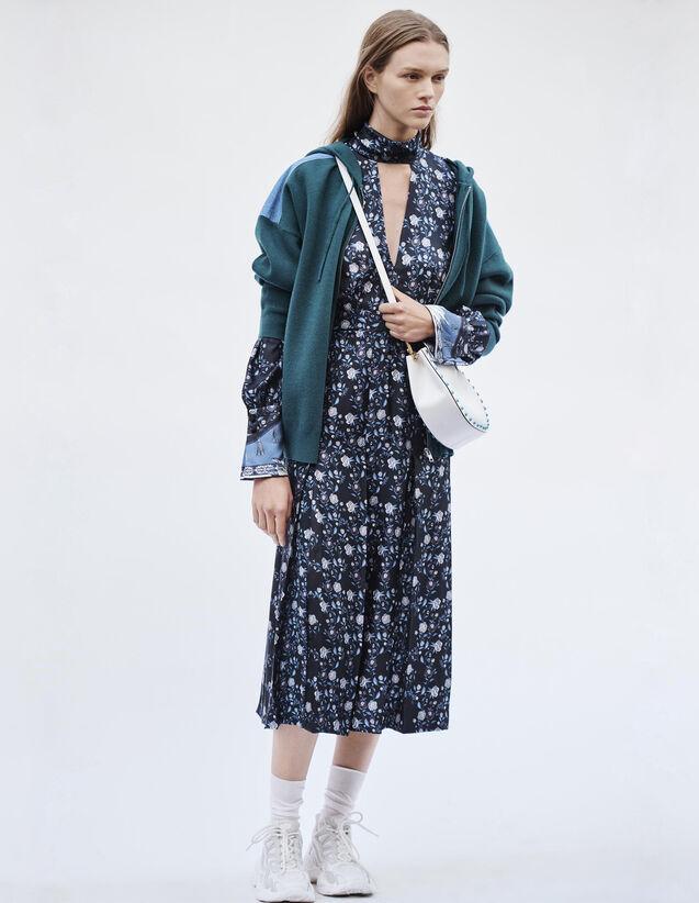 산드로 Hloé 듀얼 패브릭 후드 가디건 ('바람이 분다' 김하늘 착용) Sandro Kapuzen-Cardigan Aus Materialmix G30074E Gruen - Pullover & Cardigans