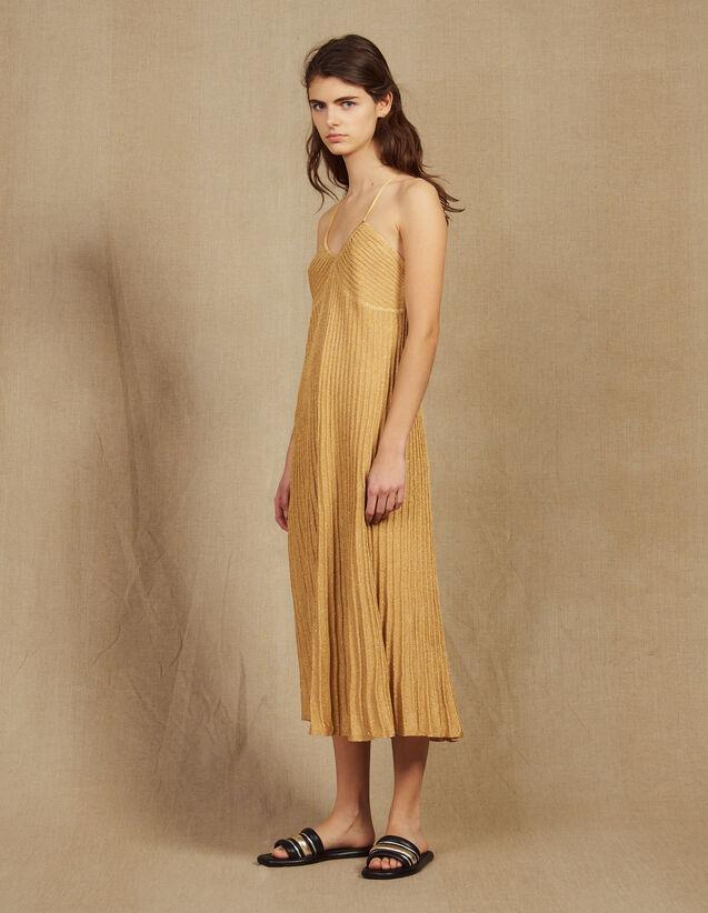 산드로 Steban 플리츠 롱 원피스 - 골드 Sandro Langes Plissiertes Kleid Aus Lurexstrick R30153E -  Gold