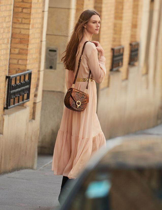Langes Plisseekleid mit langen Ärmeln : Kleider farbe Hautfarbe