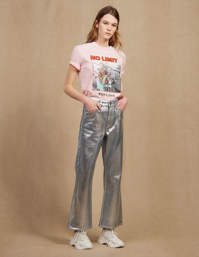 Ausgestellte Jeans Mit Hohem Bund : null farbe Silber