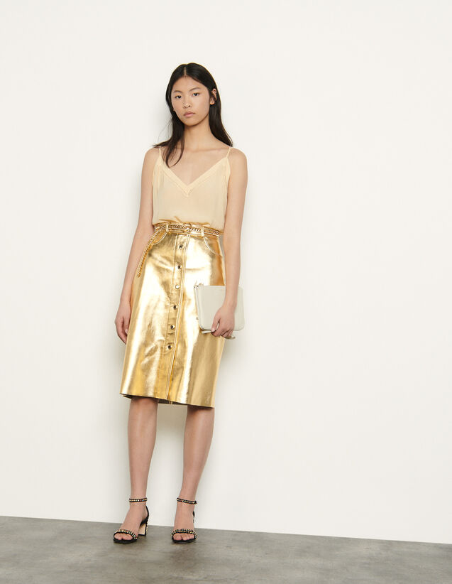 Rock aus metallisiertem Leder : Röcke & Shorts farbe Gold