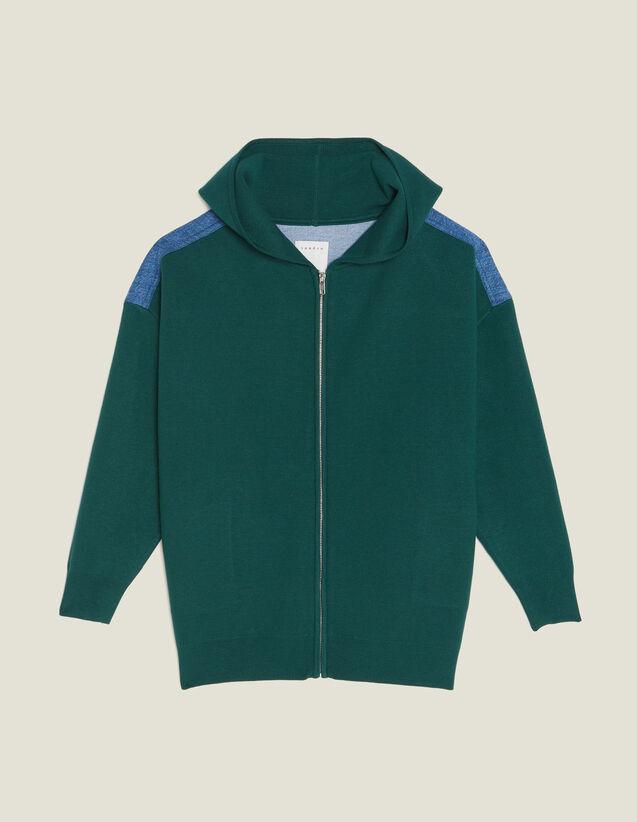 Kapuzen-Cardigan Aus Materialmix : Pullover & Cardigans farbe Grün
