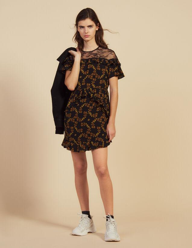 Kurzes Bedrucktes Kleid Mit Spitze : Kleider farbe Schwarz