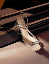Sandalen Aus Metallic-Leder Mit Absatz : null farbe Silber