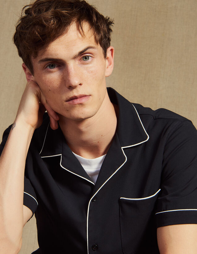Hemdbluse Im Pyjamastil Mit Schrägband : Hemden farbe Marine