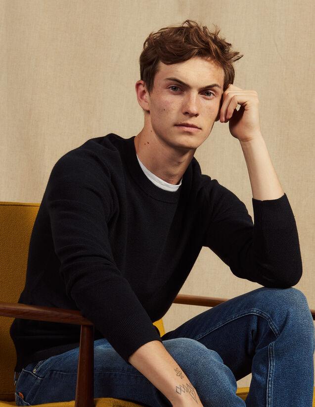 Dünner Pullover Mit Zierstich : Pullovers & Cardigans farbe Marine
