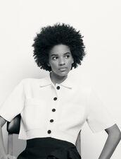 Kurzer Strick-Hemdcardigan : Pullover & Cardigans farbe Weiß