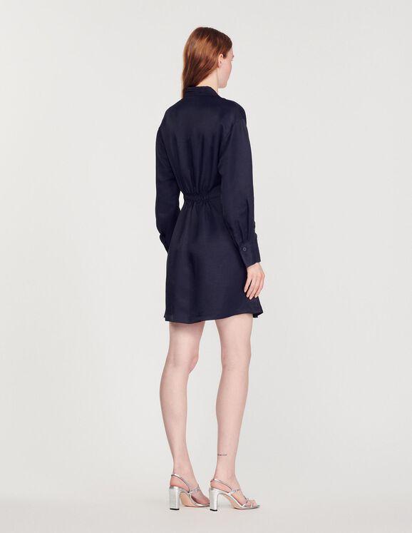 Kurzes Kleid mit langen Ärmeln SFPRO01105 Marine - Kleider ...