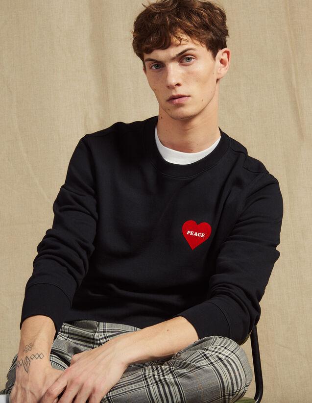 Baumwoll-Sweatshirt Mit Beflocktem Herz : Sweatshirts farbe Marine