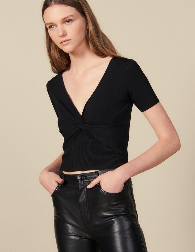 Kurzes Top Aus Rippstrick : Tops & Hemden farbe Schwarz