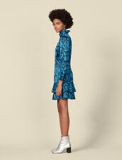 Bedrucktes Kleid mit Volant-Stehkragen : Kleider farbe Blau