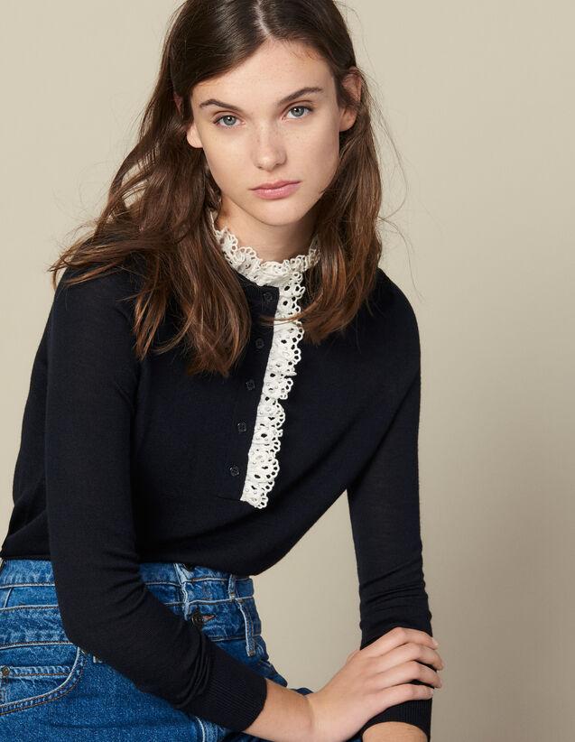 Pullover Mit Lochstickerei Am Kragen : Pullover & Cardigans farbe Marine