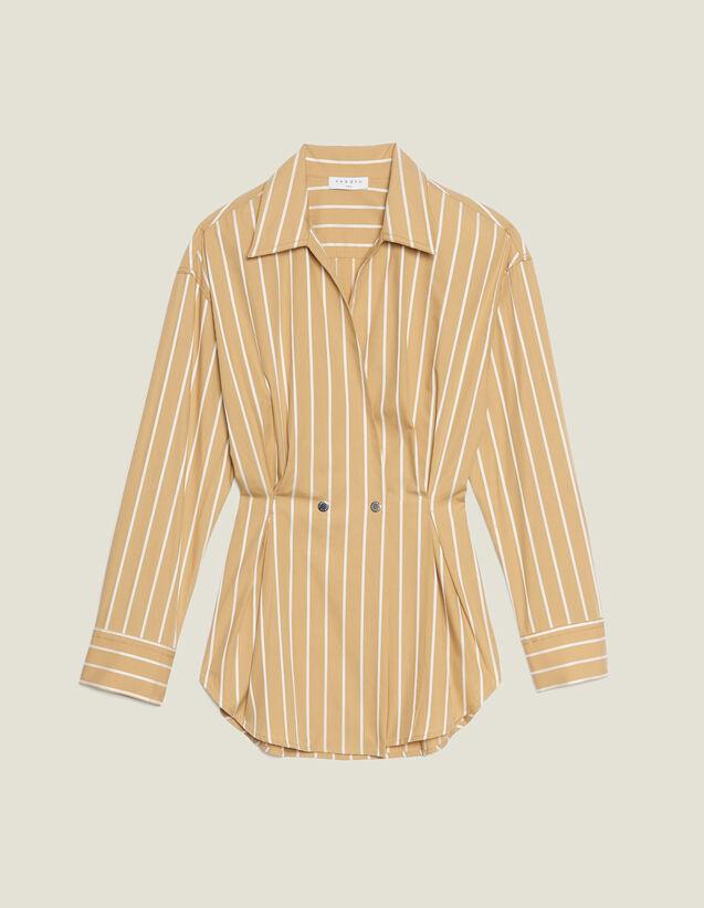 Gestreifte Langarmhemdbluse : Bedrucktes Hemd farbe Beige