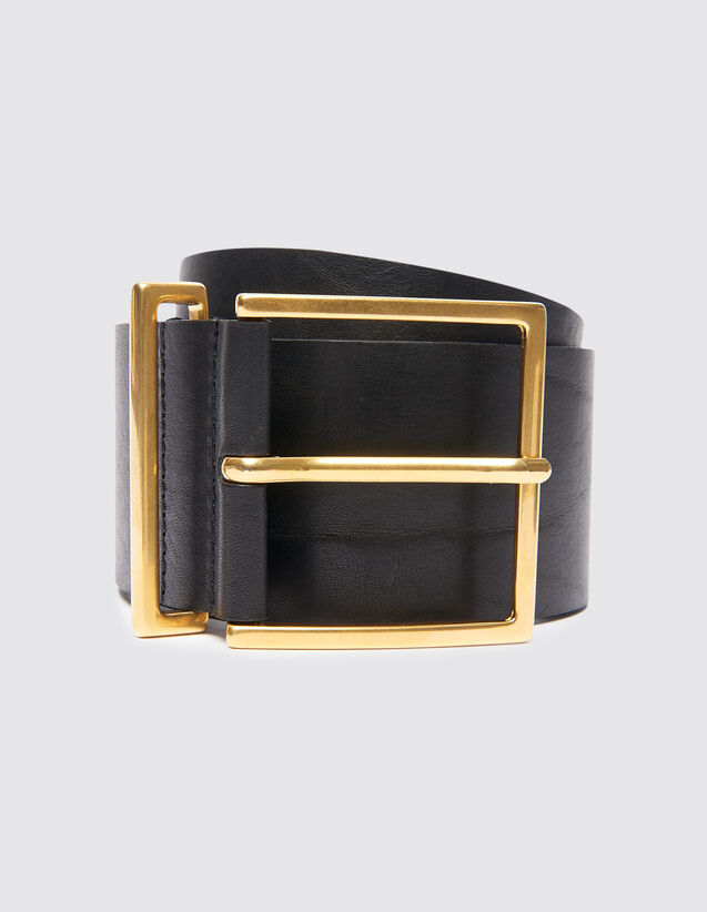 Breiter Gürtel aus Leder : Gürtel farbe Schwarz