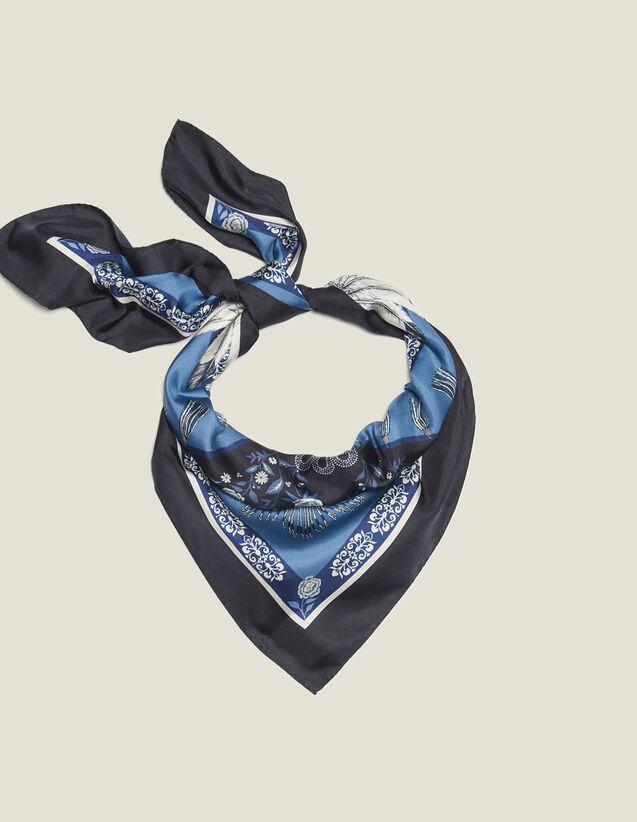 Bedruckter Seidenschal : Scarves farbe Bleu jean