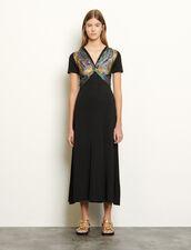 Jerseykleid mit Einsatz : Kleider farbe Schwarz