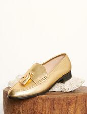 Mokassins aus Metallic-Leder : Schuhe farbe Gold
