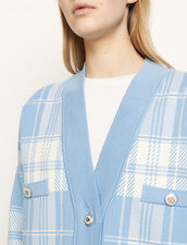 Oversize-Cardigan mit Karomuster : Pullover & Cardigans farbe Ciel