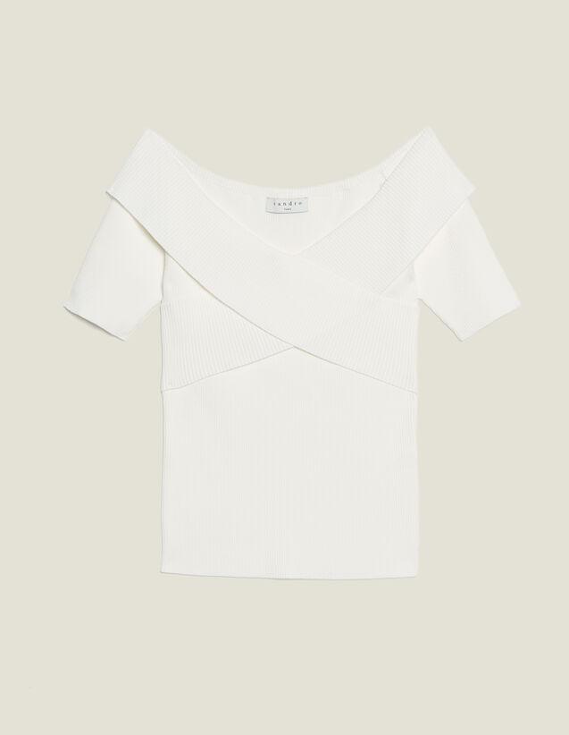 Top Aus Strick Mit Gekreuztem Ausschnitt : Kurzarmhemd farbe Weiß