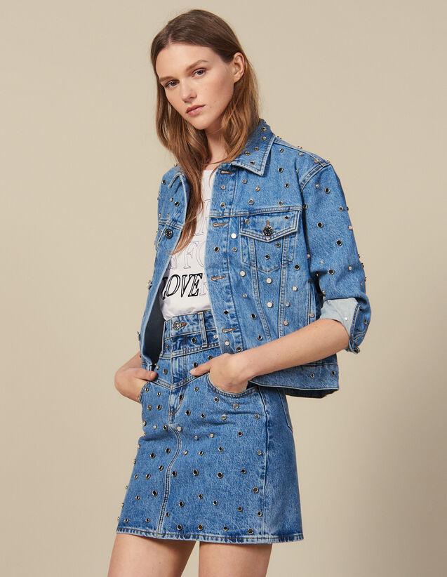 Kurzer Jeansrock Mit Nietenverzierung : New In farbe Bleu jean