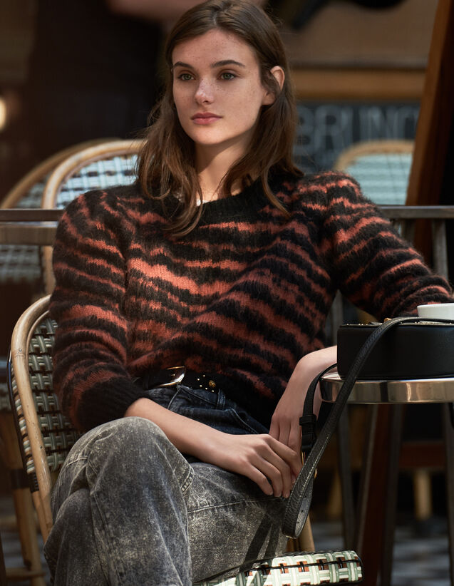 Flauschiger Pullover Mit Zebra-Jacquard : Pullover & Cardigans farbe Noir / Acajou