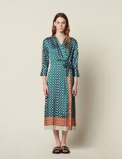 Langes Kleid Mit Print-Patchwork : null farbe Grün