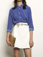 Hemdbluse aus bedruckter Seide : Tops & Hemden farbe Blau