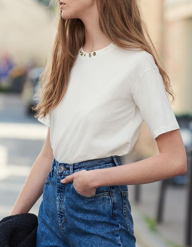 T-Shirt mit nietenverziertem Kragen : LastChance-ES-F50 farbe Ecru