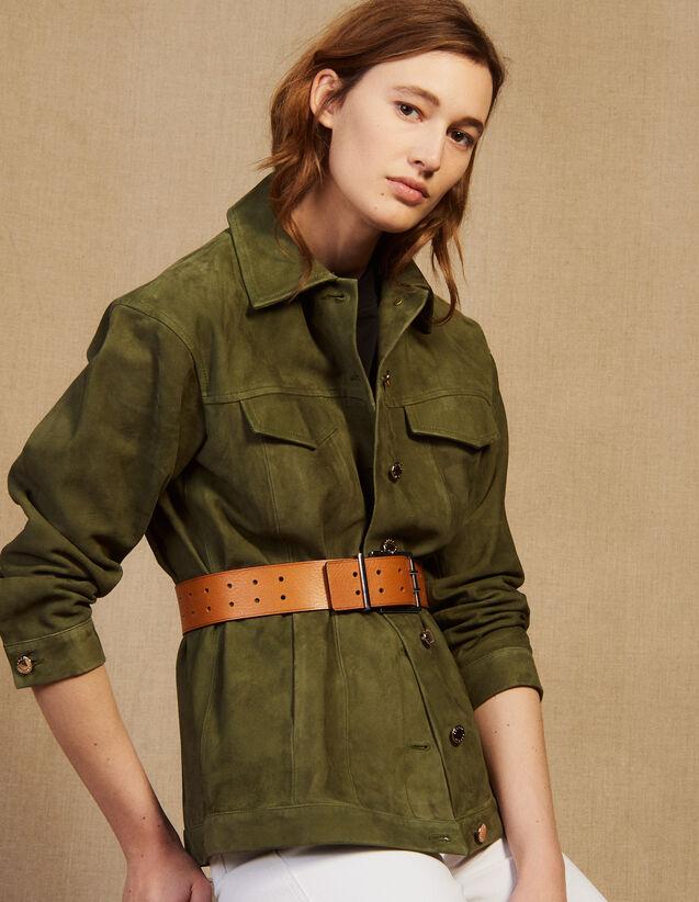 Lederjacke Im Jackenhemdstil : Blousons & Jacken farbe Khaki