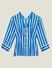 Gestreifte Hemdbluse Mit Druckknöpfen : null farbe Blau