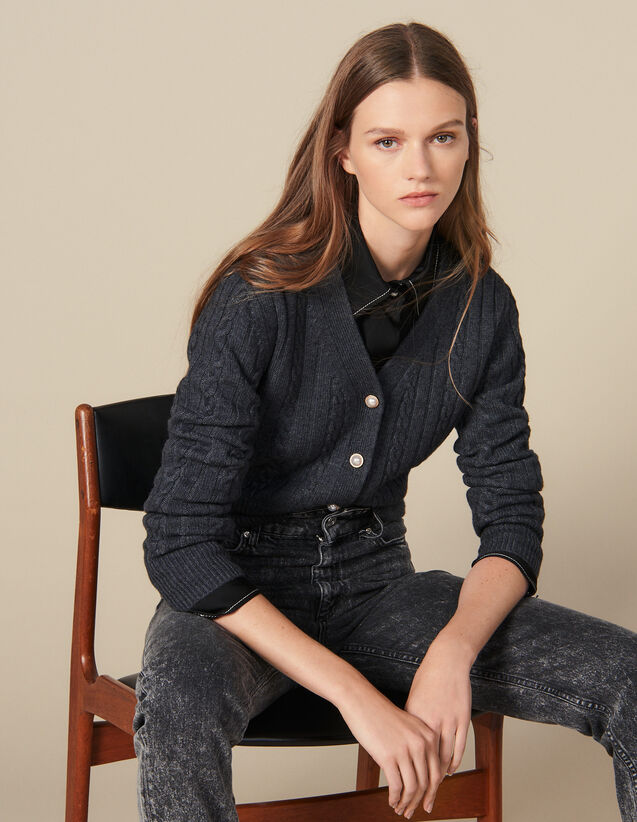Kurzer Cardigan Mit Perlenknöpfen : Pullover & Cardigans farbe Grau