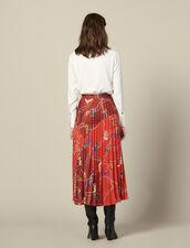 Langer Plissee-Rock Mit Print : Röcke & Shorts farbe Rot