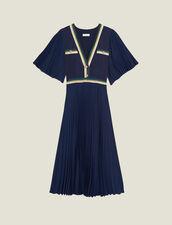 Plissiertes Kleid mit kurzen Ärmeln : Kleider farbe Marine