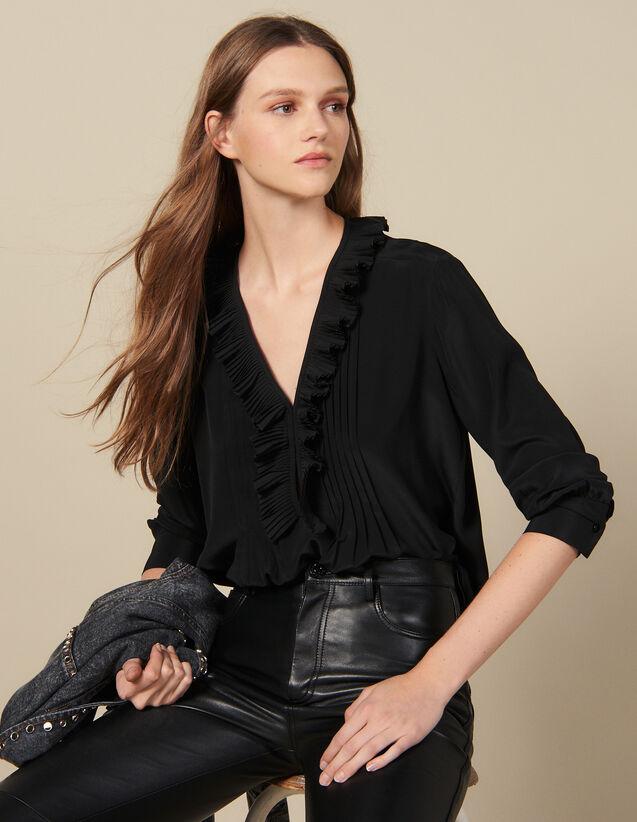Seidentop Mit Plissiertem Ausschnitt : Tops & Hemden farbe Schwarz