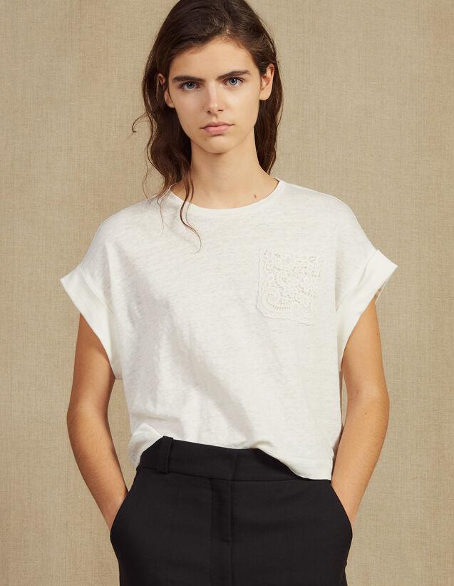 Kurzes T-Shirt Aus Leinen : T-shirts farbe Ecru