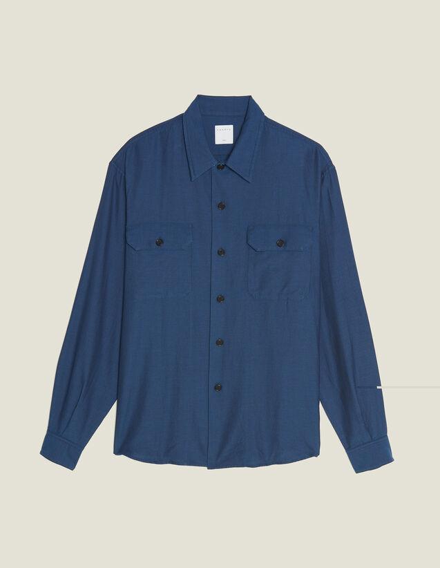 Chevron-Hemd Aus Fließendem Stoff : Sélection Last Chance farbe Blau