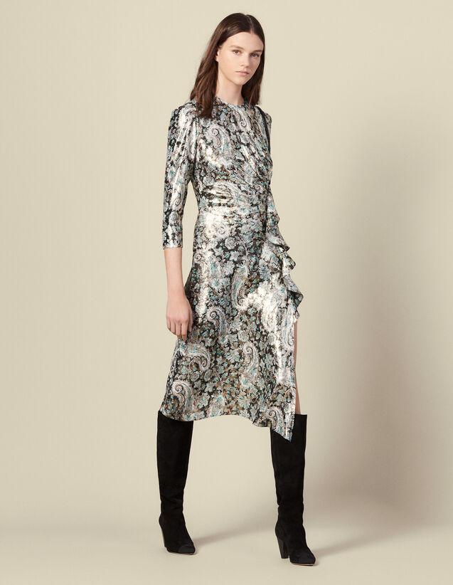 Langes Drapé-Kleid aus Lurex-Jacquard : Kleider farbe Bunt