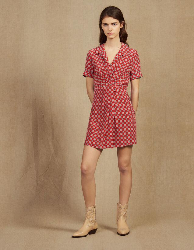 Kurzes Kleid Aus Seide Mit Print : Kleider farbe Rot