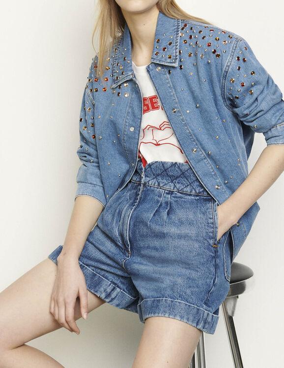 Jeansbluse mit mehrfarbigem Strass : Tops & Hemden farbe Bleu jean
