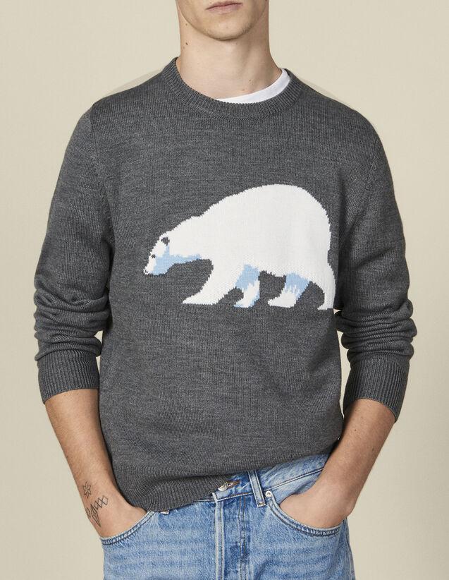 Pullover mit Jacquardbär : Pullovers & Cardigans farbe Gris chiné moyen