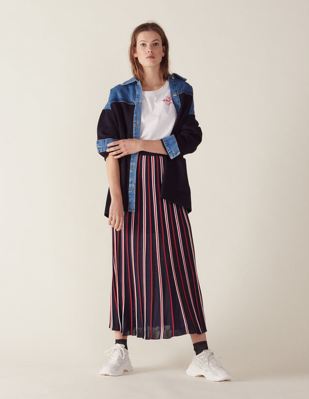 Langer Plissierter Strickrock : Röcke & Shorts farbe Marine