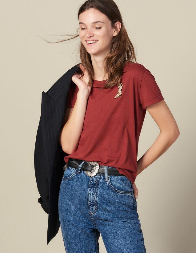 T-Shirt Mit Aufgesticktem Patch : T-shirts farbe Bordeaux