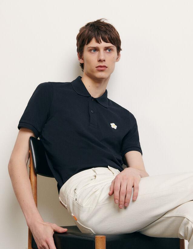 Poloshirt mit aufgesticktem Patch : Sommerkollektion farbe Marine